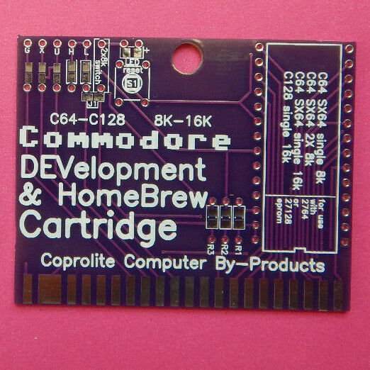 Commodore 64 C64 C128 NEW bare HomeBrew DEVelopment cartridge  board 8k 16k