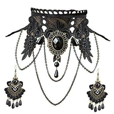 Vintage Black Lace Skull Choker Necklace for Women Girls Halloween Decorations