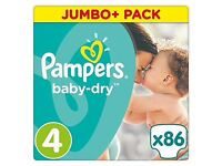 Pampers size 4 nappies 7-18kgs 4 packsx86 in each pack
