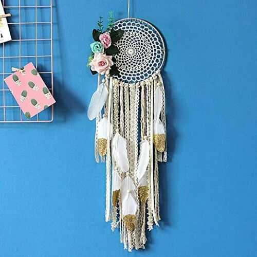 Dream Catchers with White Gold Feather Handmade with Flowers for Wall Hanging