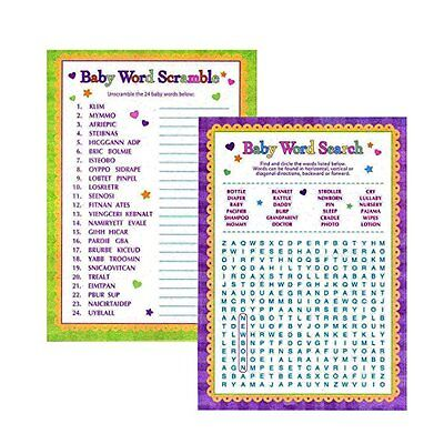 Baby Shower Word Games - Word Search & Word Scramble For Boy and Girl Unisex 2pk (Baby Word)