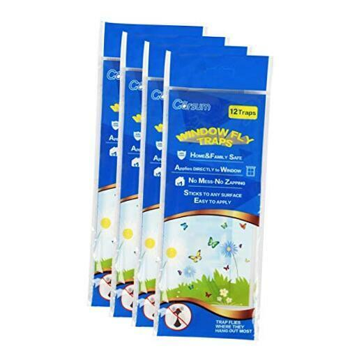 Fly Clear Window Fly Traps Bug Fly Killer Window Decal Non-Toxic,48 Pieces