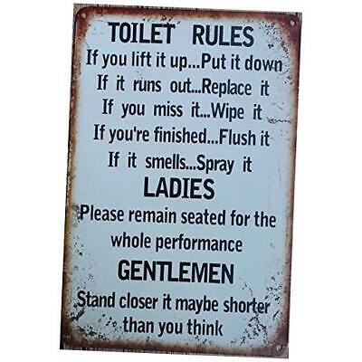 Toilet Rules Warning Sign Bar Cafe Garage Wall Decor Retro Vintage 7.87 X