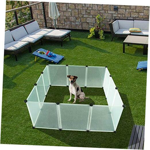 Pet Playpen for Puppy - Plastic Indoor Yard Fence Durable and Large Space for S