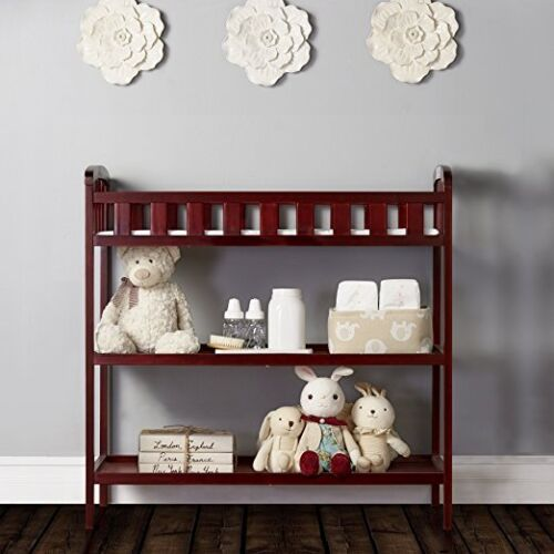 Changing Table Wood Furniture Nursery Infant Baby Diaper Change Pad Strap Cherry