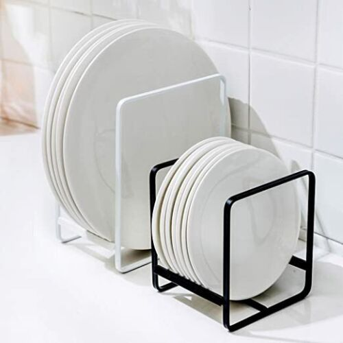 Metal Plate Dish Organizer Rack Stand for Kitchen Cabinet, Counter and Cupboard