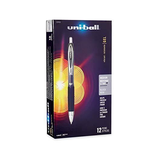 12 Uni-Ball 207 Signo Retractable Gel Rollerball Pens Black Medium .7mm, uniball Ballpoint & Rollerball Pens