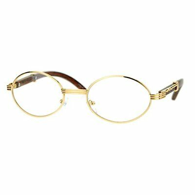 Mens CLASSY Style Clear Lens EYE GLASSES Wooden Print Oval Gold Frame