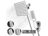 3 in 1 Multifunctional High Pressure Handheld Shower Head + 8 Inches Rotatable Rainfall NEW/BOXED