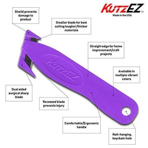 NEW KutzEZ PURPLE safety box cutter knife ; boxes are easy to cut; Great Tool