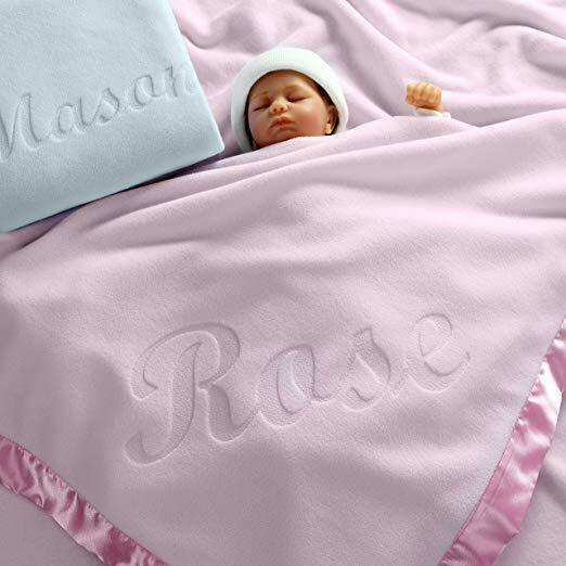 Large Personalized Baby Blanket  - 36x36 Inch, Satin Trim, F