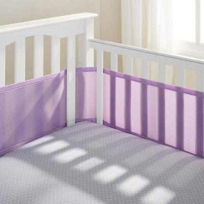 Breathable Mesh Bumper Crib Liner Baby Bedding Washable Hypoallergenic Purple