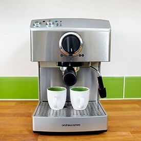 Andrew James 15 Bar Pump Barista coffee machine For Professional Espressos, Lattes And Cappacinos