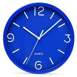 Blue Wall Clock 8 inch Silent Non-Ticking Quality Quartz Battery Operated Round