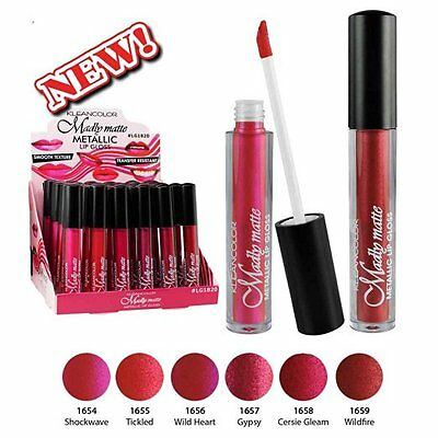 KleanColor Set of 6 Madly MATTE Metallic Lip Gloss Long Lasting