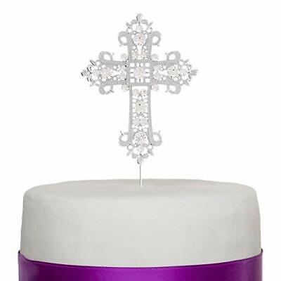 Cross Cake Topper Silver Religious, Wedding, Baptism, Christening, Dedication
