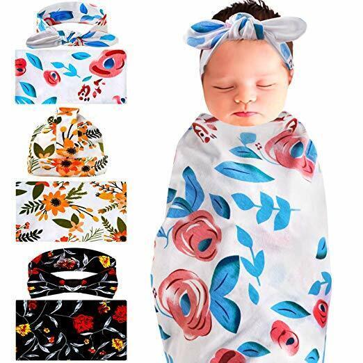 UBBCARE Newborn Receiving Blanket and Headband 3 Sets Flower
