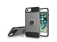 iPhone 7 Case - Ring Holder Hybrid - Dual Layer Soft Silicone Gel TPU Hard Cover Shockproof Rotating