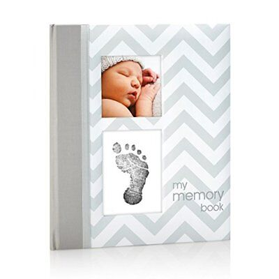 Pearhead Chevron Baby Book with Clean-Touch Ink Pad Included, Gray, NEW