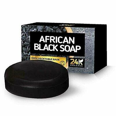 100% Organic African Black Soap Face & Body Bar Moisturizes, Clears Skin W/ Aloe Bar Soaps