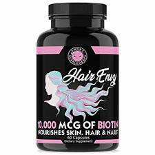 Angry Supplements Womens Hair Envy Biotin + Keratin 10,000 MCG All Natural 60 Ct