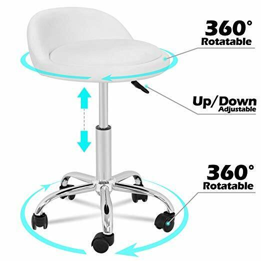 Adjustable Height Hydraulic Rolling Swivel Stool Spa Salon Chair with Back Rest Health & Beauty