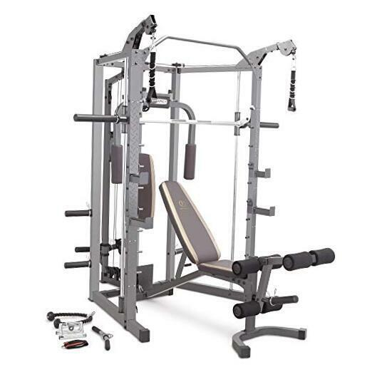 Smith Cage Machine with Workout Bench and Weight Bar Home Gym Equipment Black