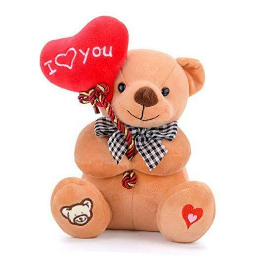 "I Love You Stuffed Bear with Heart 7"" Brown Bear"