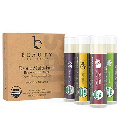 Beauty by Earth Certified Organic Beeswax Lip Balm Pack of 4