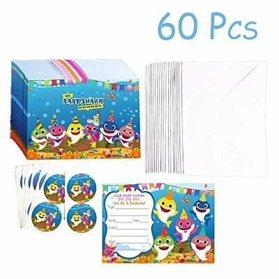 20 Packs Shark Baby Invitations Greeting Card Shark Themed Birthday Party Suppli Baby Birthday Party Invitations