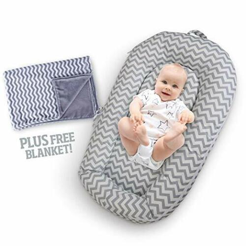 Baby Lounger w/Free Bonus Blanket – w/Washable Cotton Cover & Travel Bag
