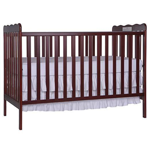 Baby Crib Toddler Bed 3in1 Convertible In Cherry Solid