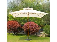 Extra Large Waterproof Double Tier Wooden Parasol with Brass Crank Handle