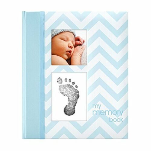 Baby Keepsake Book Boy Footprint Handprint Ink Pad photo albums memory book Blue