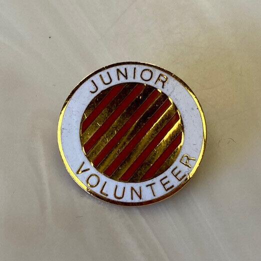 "Vintage enamel JR VOLUNTEER Hospital Pin teenage CANDY STRIPER gold-tone 3/4"""