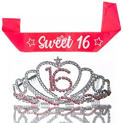 Sweet 16 Tiara and Sash 16th Birthday Party Accessories Supplies - 16 Party