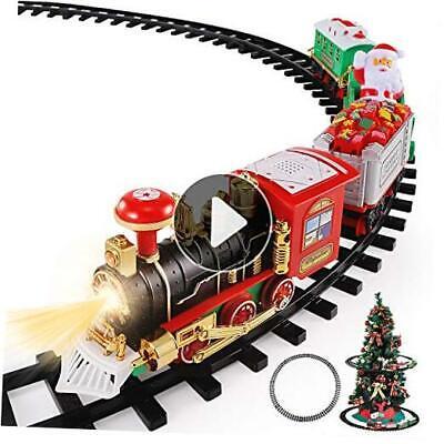 Christmas Train Toys Set Around Tree, Electric Railway Train Set w/ Locomotive