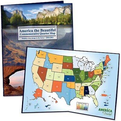 Best! 50 State National Parks Quarter Map Album Coin Collector Holder Quarters ! ()