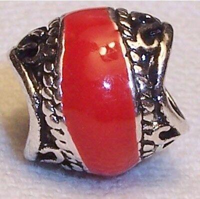 Red Enamel Black Silver Tone Spacer Charm for European Bead Slide Bracelets