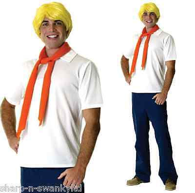 Mens Adult Fred Scooby Doo 1960s 60s Cartoon Fancy Dress Costume Outfit with Wig](Scooby Doo Fred Wig)