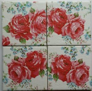 4 Shabby Chic Ceramic Coasters in Cath Kidston Classic Rose Red White