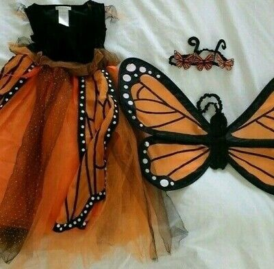 Pottery Barn Kids Monarch Butterfly Halloween Costume Orange  7 - 8 Years #6024