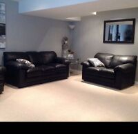 Beautiful black leather couch and love seat