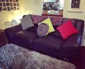 Large 3 seater leather sofa & footstool.