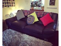 Large 3 seater leather sofa & footstool.