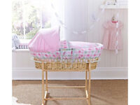 Moses basket, new mattress, rocking stand and sheets