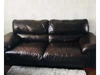 3 SEATER BROWN DFS LEATHER SOFA 🚚 DELIVERY AVAILABLE 🚚