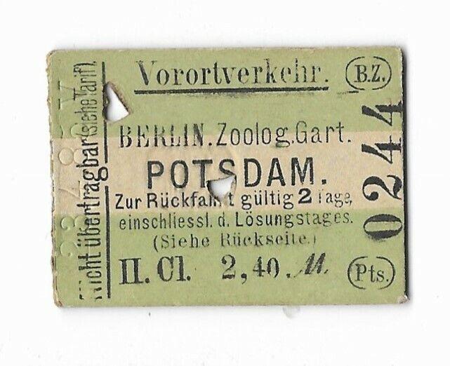 Germany - Railway Ticket - Berlin Zoo to Potsdam - 1885