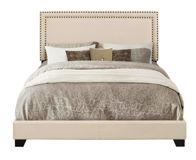 Queen Bed Frame Complete Set Rails Upholstered Headboard Bedroom Furniture Cream