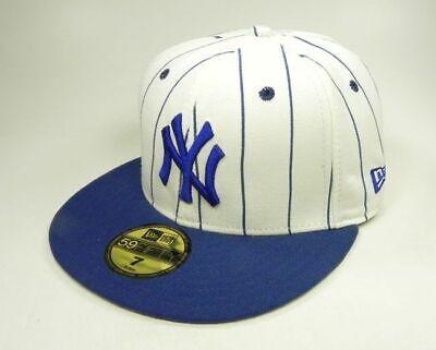 New Era Cap Pinstripe Cap (New Era 59Fifty Hat MLB New York Yankees Royal Blue Pinstripe Fitted Mens Cap)